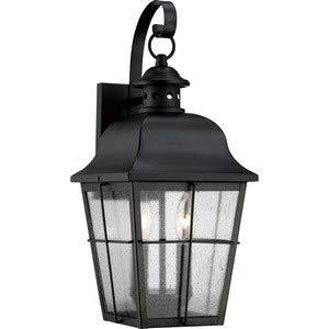 Quoizel MHE8409K Millhouse Seedy Glass Outdoor Wall Lantern Wall Mount Lighting, 2-Light, 120 Watts, Mystic Black (19