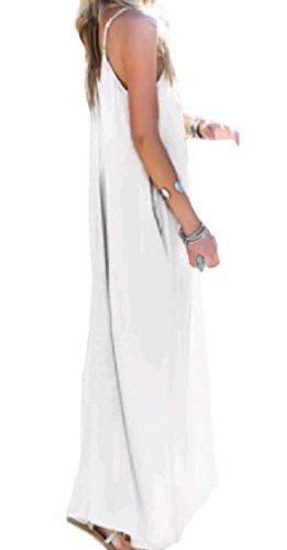 Coolred-donne Con Il Vestito Cinghia Lunga Tasca Solido Backless Sexy Larghi Bianco