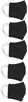 KIT 5 Máscaras dupla face 100% algodão 80 lavagens - Preta