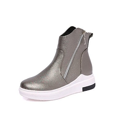 Wsx & Plm Femmes-bottines-casual Formal-confortable-low-faux Cuir-noir Argent, Us8 / Eu39 / Uk6 / Cn39