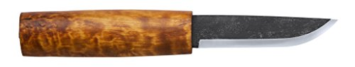 Helle Saga Siglar Knife - Handcrafted Carbon Steel Knife with Birch Wood Handle and Genuine Leather Sheath