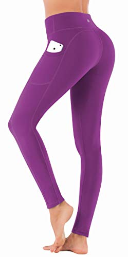 IUGA High Waist Yoga Pants with Pockets, Tummy Control, Workout Pants for Women 4 Way Stretch Yoga Leggings with Pockets (7840 ZISE Large)
