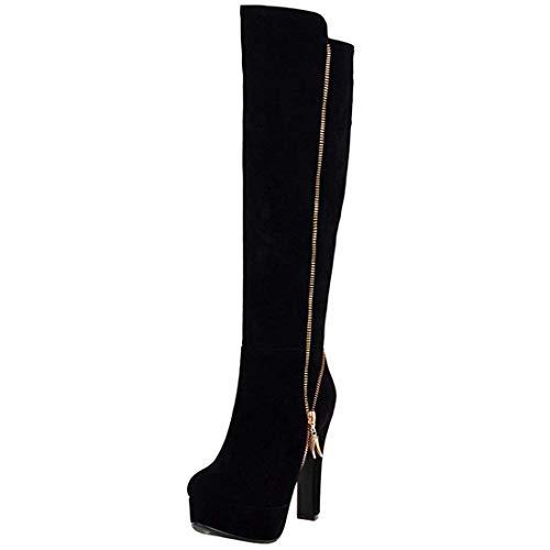 Zip Up Knee Boot - Vitalo Women High Chunky Heel Knee High Platform Zip Up Autumn Winter Boots Size 6 B(M) US,Black