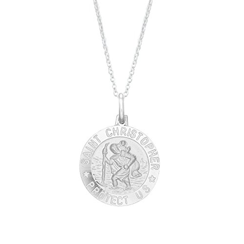Ritastephens Sterling Silver Saint St Christopher Medal 19mm Round Charm Pendant 18 Inches Necklace