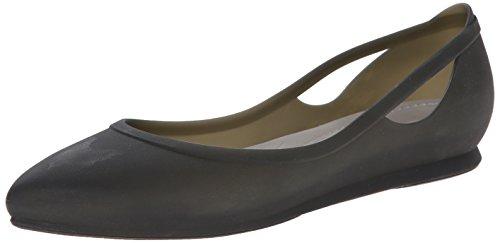 crocs Women's Rio Ballet Flat, Black/Platinum, 9 M US