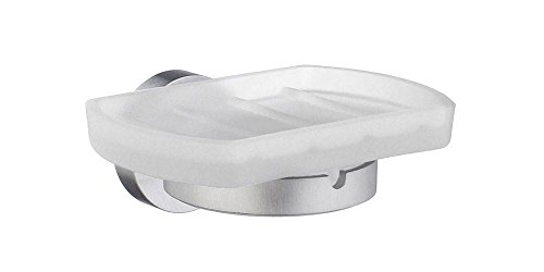 - Home Holder with Frosted Glass Soap Dish Finish: Brushed Chrome