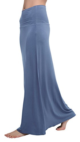 Urban CoCo Women's Stylish Spandex Comfy Fold-Over Flare Long Maxi Skirt (L, Greyish Blue)