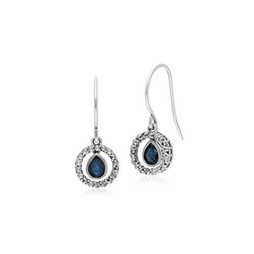 Gemondo Women Sterling Silver Tear Drop Sapphire and Round Marcasite Drop - Teardrop Marcasite Earrings