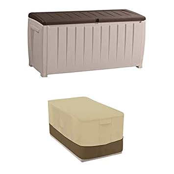 Keter Novel Plastic Deck Storage Container Box Outdoor Patio Furniture 90 Gal, Brown 212835
