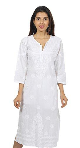 Indiankala4U Ladies Dresses Tops Kurti Cotton Long Kurta Hand Embroidery Handmade Lucknow Chikankari Work For Women (Tunic Top Dress Kurta)