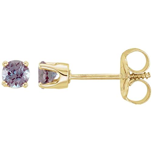 14k Yellow Gold Chatham Lab-Created Alexandrite Earrings ()