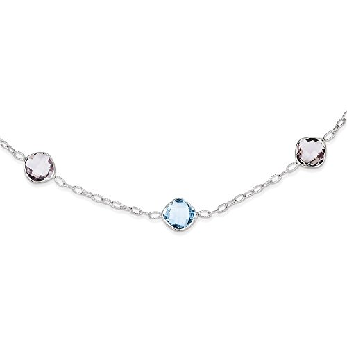 Sterling Silver Rhodium-plated 17.5In. Amethyst & Blue Topaz Necklace
