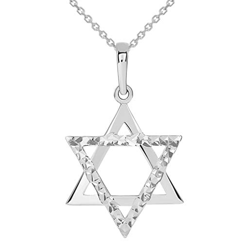 (14k White Gold High Polished and Sparkle Cut Hebrew Star of David Pendant Necklace, 22