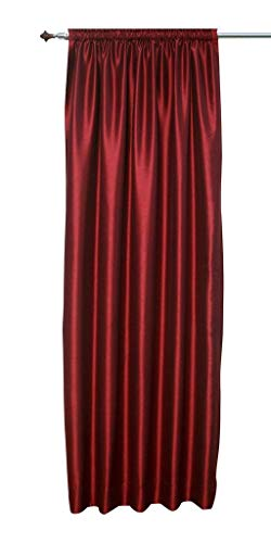 (Wine Red Faux Silk Satin Dupioni Curtains, Each 51