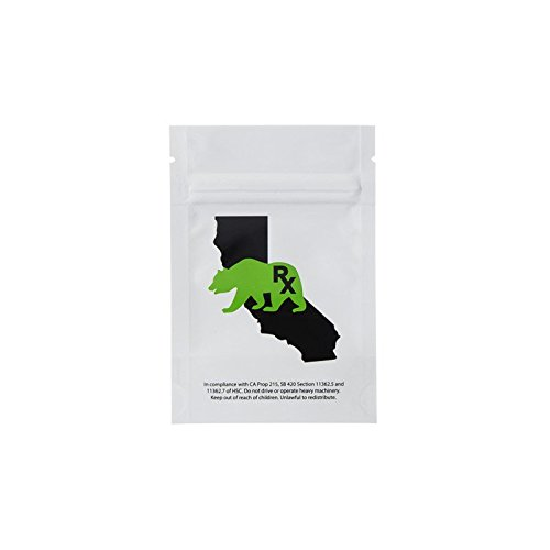 Eighth Ounce Dispensary Smell Proof Barrier Bags - California Bear Logo White/Clear (100 Bags) -