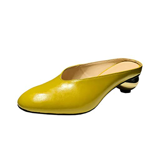 5CM Yellow Round Women 4 Slip 3 Heel Western Toe Mules vamlrt Shoes Vaneel on UK 5 7X4wxX