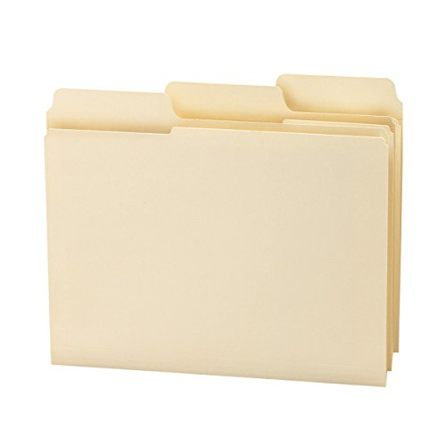 Smead SuperTab File Folder, Oversized Reinforced 1/3-Cut Tab, Guide Height, Letter Size, Manila, 100 Per Box (10395)