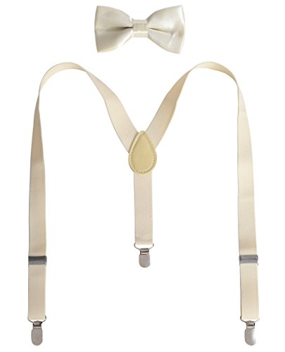 Cream Kids Costumes (JustinCostume Kids or Boys Bow Tie and Suspenders Set (Cream))