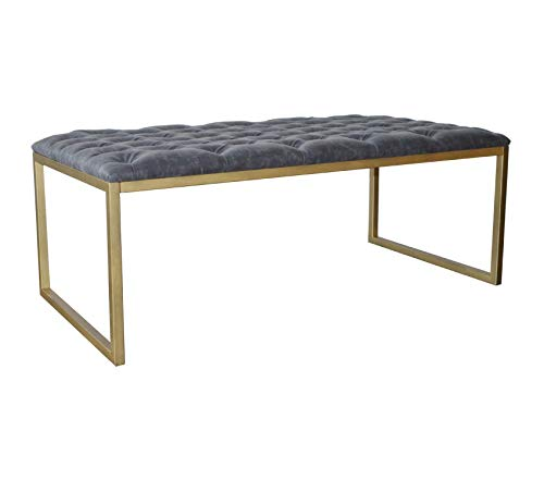 Wood & Style Furniture Avril Bonded Leather Coffee Table Vintage Midnight Premium Office Home Durable Strong ()