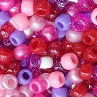 Valentine's Multicolor Mix Plastic Craft Pony Beads 6x9mm, 500 beads bulk bag