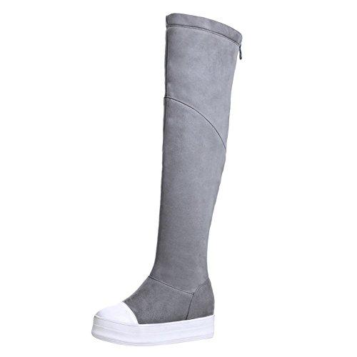 Carolbar Womens Zip Fashion Comfort Platform Hidden Heel Tall Boots Grey 5ghm0