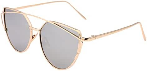 FEISEDY Cat Eye Mirrored Flat Lenses Metal Frame Women Sunglasses UV400