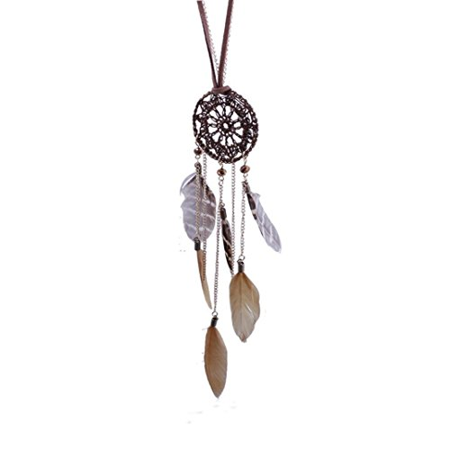 Clearance! Tloowy Women Teen Girl Vintage Boho Dangling Dream Catcher Feather Charms Pendant Sweater Chain Necklace Jewelry (A)