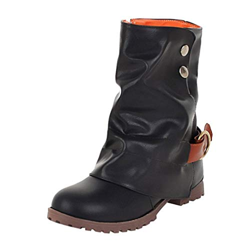 ?Amlaiworld Women Boots, Warm Short Leather Boots Women Buckle Artificial Leather Patchwork Shoes Black
