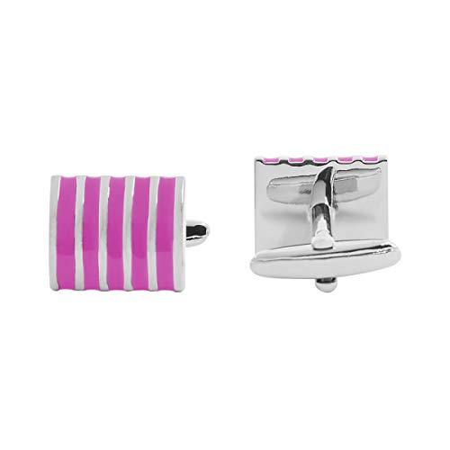 - APEX Enamel Striped Cufflinks (PINK)