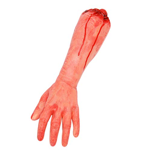 Hoiert Horror Bloody Severed Hand Leg Broken Rubber Toy Fake Human Parts Halloween Haunted House Party Props (D) -