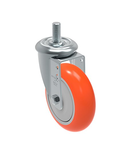 Schioppa-GLEFF-412-UPE-L12-Series-4-x-1-14-Diameter-Swivel-Caster-Non-Marking-Polyurethane-Precision-Ball-Bearing-Wheel-10-mm-Diameter-x-40-mm-Length-Threaded-Stem-275-lb