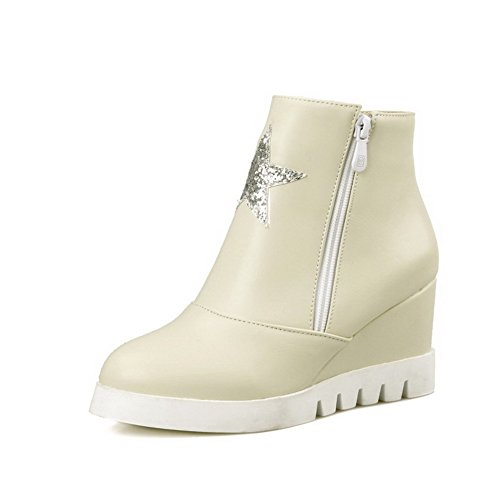 Allhqfashion Women's Round Closed Toe Low Top High Heels Solid Pu Boots Beige