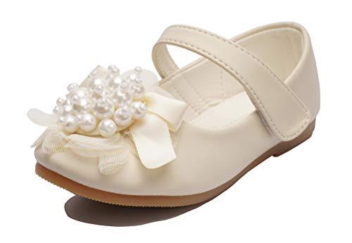 Always Pretty Little Girls Cute Round Toe Beading Ballet Ballerina Flats Princess Shoes (Toddler/Little Kid)