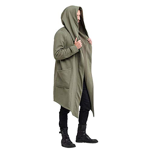 PASATO Men's Autumn Winter Casual Hooded Pocket Trench Long Sleeve Outwear Coat Tops Fashion Cloak Clearance Hot Sale(Green,XXL=US:XL)