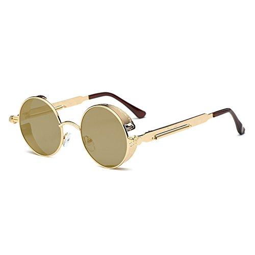 gafas mujeres C13 Juleya de gótico redondo UV400 gafas vintage de retro sol espejo metal Steampunk para hombres SSHvqxw6