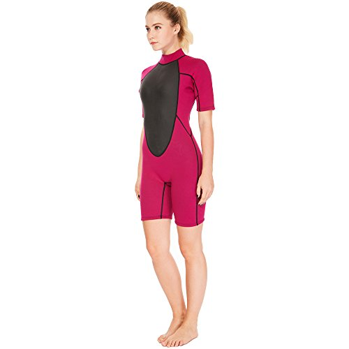 Suit Paddling (Flexel Wetsuit Shorty Women Surfing Suit Snorkeling Spring Suit Standup Paddling Wetsuits (3mm Rose, 2XL))