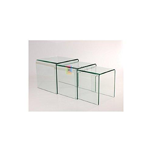 Set di 3tavolini bassi multipli, moderni, in vetro trasparente, Nesting, 41x 41x 41cm Quidin