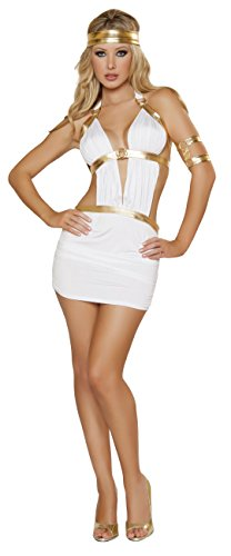 Goddess Of Love Aphrodite Sexy Costumes (3 Piece Sexy Greek Goddess Aphrodite White Mini Dress Halloween Costume)