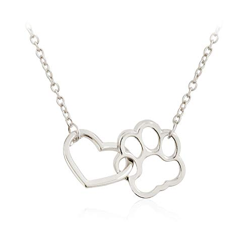 NOUMANDA Fashion Love and Feet Pendant Good Lucky Charm Animal Dog Paw Necklace Chain for Girls (Silver)