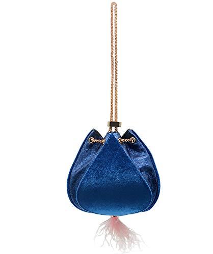 (Miuco Women's Feather Bag Chain Velvet Drawstring Purse Handbag (Blue))