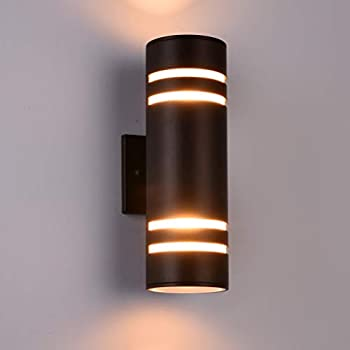 Outdoor Wall Light Fixture, Aluminum Modern Wall Sconce Waterproof Porch Light for Outdoor/Indoor Use, Brown[ETL Listed]