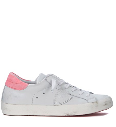 Philippe Model Sneakers Paris in Leder Weiss und Fluo Rosa Weiß
