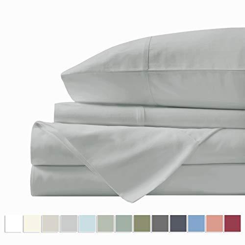 "Pizuna 400 Thread Count Cotton Bed Sheets Set California King, 100% Long Staple Cotton Bedsheets, Soft Sateen Light Grey Cotton Sheets Deep Pockets fit Upto 17"" (Silver Gray Cal-King Sheet Set)"
