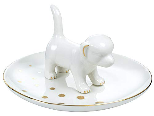 JLXDER Dog Ring Dish Holder,Ceramic Jewelry Trinket Tray for Engagement