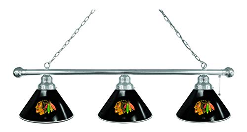 Chicago Blackhawks 3 Shade Billiard Light with Black Shades with Chrome ()