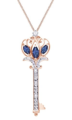 Jewel Zone US Simulated Blue Sapphire & Natural Diamonds Key Pendant Necklace in 10K Solid Gold