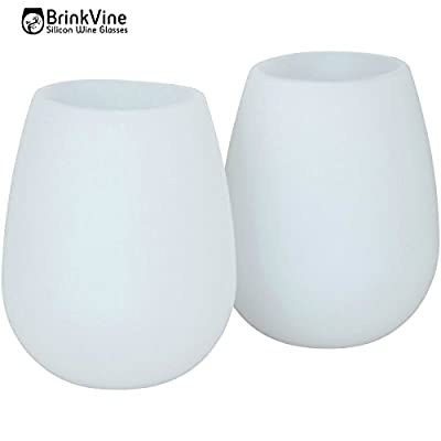 BrinkVine set of 2 Unbreakable Wine Glasses 12 oz flexible stemless dishwasher safe reusable cups