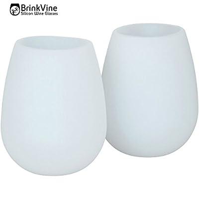 BrinkVine set of 2 Unbreakable Wine Glasses 12 oz flexible stemless dishwasher safe reusable cups