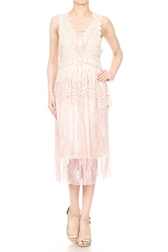 Spitze Gastby Zweiteiler Kleid Kaci Rüsch Vertuschung gestrickt Anna Hell 1920s Pink Frauen ärmellos Blumen Häkel Vintage WXqnzSg
