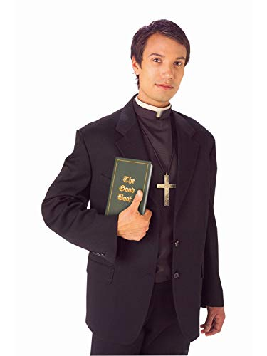 Forum Novelties Men's Priest Costume Shirt Front with Collar, Black/White, Standard -